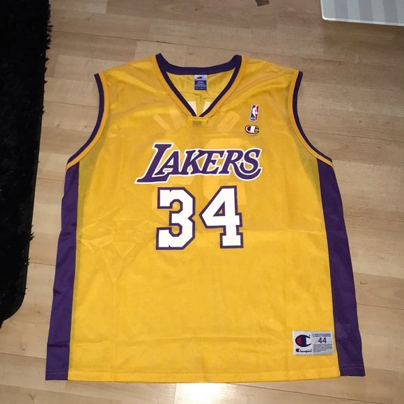 finest selection 0d85f 23865 Authentic Champion Los Angeles Lakers Shaq Jersey